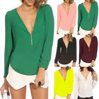 Sexy Summer Womens Chiffon Top Blouse T-Shirt Zip Neck Long Sleeve Shirt