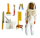 BEEKEEPING VENTILATED BEE SUIT GLOVES SMOKER HIVING TOOL BRUSH & FRAME GRIP