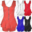 WOMENS LADIES PLAYSUIT PINAFORE  TOP HOT PANTS HIGH WAISTED BODYCON SHORTS DRESS