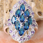 Palatial Blue Sapphire GEMSTONES Silver Jewelry Ring Size6 /7 /8 /9 T7078