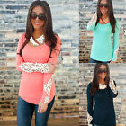Size 6-12 Sexy Womens Ladies Floral Lace Long Sleeve Loose T-Shirt Blouse Top T