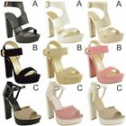 NEW WOMENS LADIES HIGH HEEL PLATFORM WEDGE SANDALS STRAPPY ANKLE SHOES SIZE