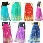 Womens Skirt Indian Gypsy Costume Boho Peasant Sequin Floral Maxi Size S / M