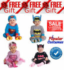 New Baby Superhero Boys Girls Costume Batman Superman Jumpsuit + Matching Hat