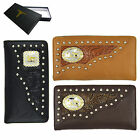 Praying Cowboy Men's Tooled Leather Wallet Checkbook Free Shipping (801 WAL)