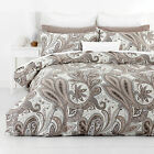 In 2 Linen PAISLEY MOCHA Floral 300TC Cotton Quilt Doona Cover Set RRP$169
