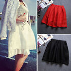 Fashion Women High Waist Pleated Floral Mini Skirt Skater Flared Short Dress c1