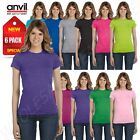 NEW 6 PACK Anvil Women's Semi Sheer Junior Fit  Crewneck T-S