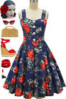 50s Style Oh Sandy! NAVY & RED ROSE FLORAL Strappy Pinup Sun Dress w/BUTTONS