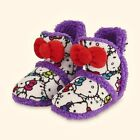 Hello Kitty Ultra Soft Purple Sherpa Lined House Slipper Booties Attached Bow