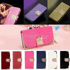 Luxury Deluxe Bling Magnetic Diamond Flip Leather Wallet Case Cover For iPhone