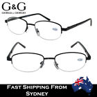 G&G Fashion Men's Metal Reading Glasses Brown/Gun+1.0, 3.0, 3.5 Half Frame