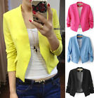 S M L Candy Color Solid Slim Thin Business Casual Short Suit Blazer Coat Jacket