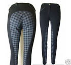 Black Reverse Checked Seat Ladies Womens Horse Riding Jodhpurs All Sizes