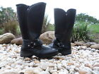 Sporto Waterproof Boots Faux Fur Lining TALL KNEE HIGH BLACK MOTO BUCKLE DETAILS