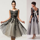 Vintage LACE Tulle Long/Short Sexy Bridesmaid Cocktail Party Evening Gowns Dress