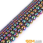 Rainbow Metallic Coated Reflections Hematite Round Beads For Jewelry Making 15""
