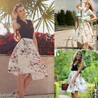 New Women Summer Floral Beach Boho Pleated Retro Long Elastic Waist Skirt Dress