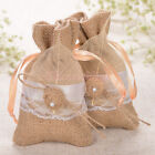 12/24/60PCS Burlap Lace Gift Bags Jewelry Candy Pounches Wedding Favors Leaves