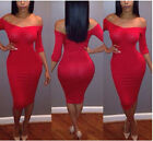 Womens  Business Stretch Bodycon Cocktail Party Evening Pencil Midi Dresses