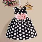 Kids Girls Baby Cotton Polka Dot Bow Knot Sleeveless Party Wedding Dress N98B
