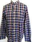 BEN SHERMAN Men's Long Sleeve Check Shirt Button Down Collar Blue King Size