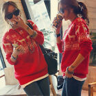 Merry Christmas Women's Snowflake Deer Sweater Jumper Knitwear Knitted Top X'mas