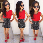 Grace Chiffon Tops Polka Dot Bow Skirt Clothes Girls Baby Kids Outfits Set 2~7Y