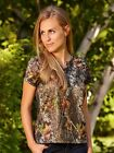 Womens Mossy Oak Break Up Camo Henley Lounge Shirt Relax Sexy