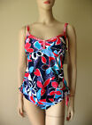 Leilani by Quiksilver Ruffle Tankini Swimsuit 2pc Set Red Navy Blue #5023P