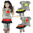 2PC Baby Kid Girls Top T-shirt Tutu Dress Pants Summer Outfit Casual Clothes Set