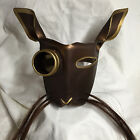 Leather art copper and gold Steampunk bunny mask w/horse hair whiskers