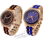 Women's Stainless Steel Case Band Alloy Crystal Bling Classic Quartz Wrist Watch