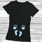 Womens Baby Foot & Hand Prints T shirt Funny T-shirt Ladies MATERNITY PREGNANT