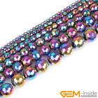 Round Faceted Multicolor Hematite Beads Jewelry Making Gemstone Loose Beads15""