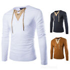 Mens Stylish Tops Slim Fit Casual V Neck T-shirts Muscle Shirts Long Sleeve Tee