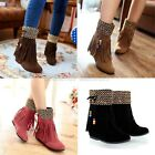Ladies Tassel Beaded Bow Tie Concealed Wedge Ankle Boots Shoes Plus Size A-28