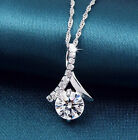 18k White Gold Plated Exquisite Crystal Pendant Necklace Nf21