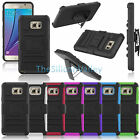 Rugged Hybrid Armor Case Cover+Belt Clip For Samsung Galaxy Note 5/S6 Edge+ Plus
