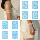 1pc Vintage White Henna Ink Lace Flower Temporary Tattoo Bride Inspired Stickers
