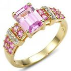 Size 6,7,8,9,10 Woman's Pink Sapphire 18K Gold Filled Anniversary Fashion Rings