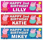 """2 x PERSONALISED PEPPA PIG BIRTHDAY BANNER 3ft - 36 """"x 11"""" 1st 2nd 3rd 4th 5th"""