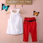 2PCS Kids Baby Girls Toddler T-shirt Tank Tops + Red Pant Set Outfits Clothes