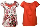 NEW LADIES PLUS SIZE COTTON TOP ORANGE WHITE FLORAL EMBROIDERY TRIM UK 12 - 22