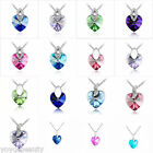 Fashion18K White Gold Plated Swarovski Crystal Heart LoveShape Pendant Necklace