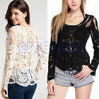 Semi Sheer Women Sexy Sleeve Embroidery Floral Lace Crochet T-Shirt Top Blouse