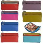 Golunski Soft Real Leather 3 Section Zipped Coin Purse In Various Colours - 0330 image