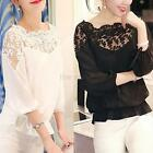 Ladies Girl Women 34 Sleeve Lace Hollow T Shirt Casual Chiffon Blouse Crop Tops
