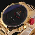 Luxury Men LED Gold Stainless Steel Digital Date Quartz Sport Analog Wrist Watch