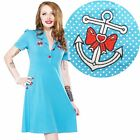 Sourpuss Rosie Anchor Dress Retro Pin Up Rockabilly Polka Dot Tattoo Nautical